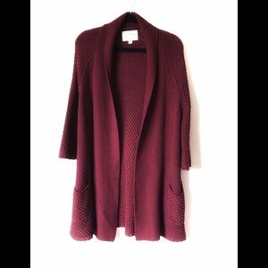 Lucky Brand Burgundy Knit Open Cardigan
